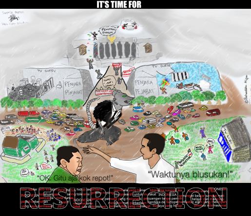 Poster ini menceritakan tentang banyaknya masalah yang terjadi di Indonesia. Tentunya, kita butuh pahlawan untuk menyelesaikan masalah-masalah ini. Saya pun mengangkat Gus Dur dan Jokowi sebagai pahlawannya.